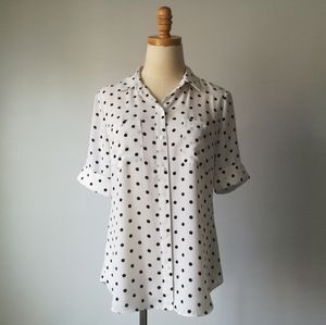White house black market polka dot button blouse